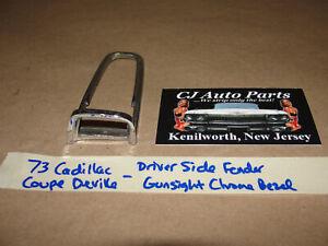 OEM 73 Cadillac Deville LEFT TOP FENDER TURN SIGNAL INDICATOR CHROME TRIM BEZEL