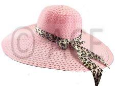Womens Extra Wide Brim Ladies Summer Leopard Bow Straw Floppy Coloured Sun Hat