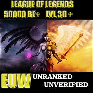 League of legends Lol account EUW 🥇 Lvl 30+ 50-55k BE ✅ Unverified ✅ Unranked