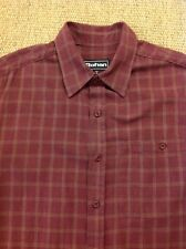 men's ROHAN Small Crossborder Shirt, Flannel Red Check, L/S. Great Cond.