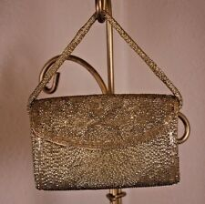 Gold Seed Beaded Vtg Cylinder Small Wrist Clutch Evening Prom Wedding Tiny Purse
