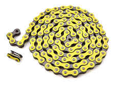"Khe Bmx Fixie Chain 1/2 "" x 1/8 "" Yellow 112 Links Left Only 13.6oz + Chain Lock"