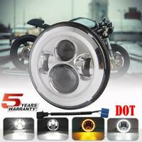 DOT 7 inch Motorcycle LED Headlight Halo Turn Signal Chrome Hi-lo DRL for Harley