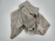 New Authentic  Gucci Women /Men 2-Tone Grey Wool Silk GG Guccissima Logo Scarf