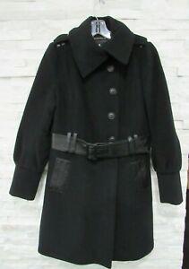 Mackage Black Wool Cashmere Leather Envelope Collar Belted Winter Coat L