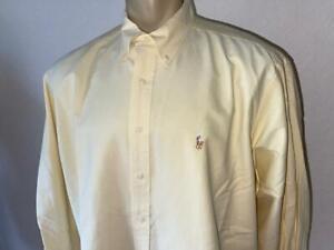 "RALPH LAUREN Yarmouth Yellow Solid Long Sleeve Button Up Shirt 17 1/2 - 34"""