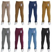 Mens Chinos Trousers Desginer Jeans Regular Fit Straight Leg Stretch Waist Sizes
