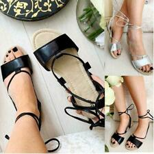 Womens Ladies Lace Up Leg Flat Gladiator Sandals Strappy Summer Comfy Shoes New