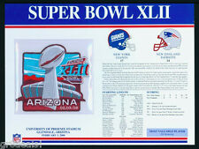 SUPER BOWL 42 ~ GIANTS vs PATRIOTS Willabee Ward OFFICIAL NFL SB XLII PATCH CARD