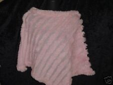 New Pink  Rabbit Fur PONCHO SHAWL Shrug Cape Coat