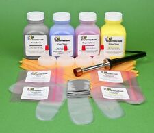 HP CP2025 CP2025dn Four Color Toner Refill Kit with Hole-Making Tool & Chips