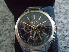 MENS ARMANI EXCHANGE STAINLESS STEEL GOLD/SILVER TONE CHRONOGRAPH WATCH - NIB