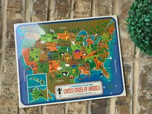 the rainbow works vintage United States of America Frame-tray puzzle map