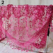 Women Lace Tassel Rose Floral Knit Mantilla Triangle Hollow Scarf Shawl Wraps