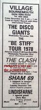 CLASH UK TIMELINE Advert - Bournemouth Weds-22-Nov-1978 5x2 inches