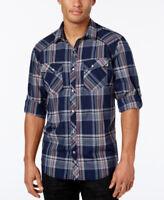 INC Basic Navy Blue Men's Dual-Pocket Long Sleeve Plaid Shirt  - XL