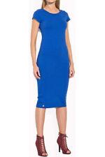 Womens Cap Sleeve Ladies  Midi Dress Plain Jersey Stretch Bodycon Plus Size 6-26