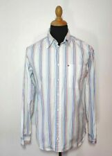 Vintage Tommy Hilfiger Shirt 80's S White Striped Long Sleeve Button-Down Casual