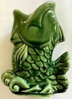"VINTAGE SHAWNEE GREEN GLAZE POTTERY  FISH PLANTER OR VASE 5"" U.S.A. #845"