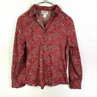 Pendleton Women's L Pearl Snap Shirt Red Floral Paisley Long Sleeve