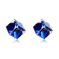 18K White Gold Plated Crystal Magic Blue Sapphire Stud Earring Fashion Jewellery