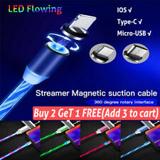 LED flowing Light Up Magnetic Fast Charger Cable For Type-C Micro-USB iPhone