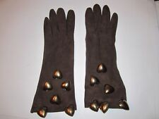 Vintage Tallullah Leather Gloves - With Heart Charms - Size 7 1/2 - Ofc-3