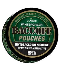 BACC-OFF Non-Tobacco Nicotine Free Herbal Snuff - Wintergreen Pouch - 1 Can