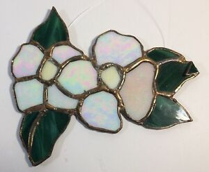 Stained Glass Dogwood Flowers & Leafs Size 7 inches by 6 inches