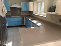Brand New Blue Quartz Worktop-Quartz kitchen worktops Handmade Full Length