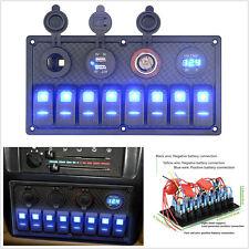 12/24V Car SUV Off-Road 8 Gang Panel Breaker Voltmeter Rocker Switch w/ Blue LED