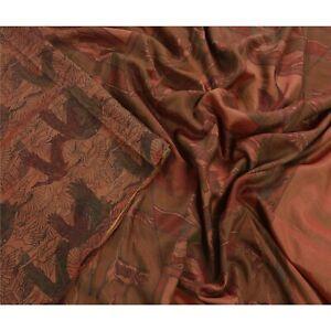 Tcw  Vintage 100% Pure Silk Sarees Brown Printed Sari Craft Decor Fabric