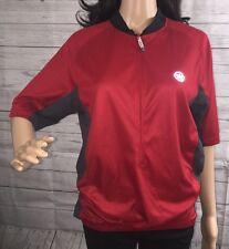 Ladies Canari Bicycle Jersey Large Red Gray Black 1/2 Zip Short Sleeve Shirt