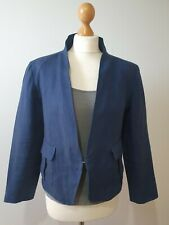 Max Mara Navy Blue 100% Linen Mandarin Jacket Size UK 12 pockets