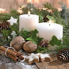5  x   Paper Napkins for Decoupage Christmas White Candles Napkin Craft