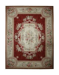 Traditional French Aubusson Rug Tapestry Handwoven Wool Red Carpet- 151x200cm