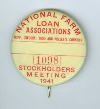1941 National Farm Loan Associations, South Dakota Stockholders Meeting Badge