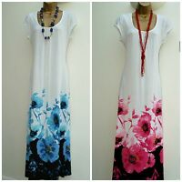 New Ladies PLUS SIZE Maxi Dress White with Pink Blue Floral Print Maxi Dress