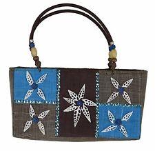 "Beach Handbag 14""L Medium Flower Seashell Purse Towel Lotion Book Sunglasses"