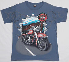 Vtg 1995 HARLEY DAVIDSON T Shirt LARGE Blue Motorcycle Biker Hog Rally 90's