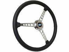 """Sprint Steering Wheel Ford Kit - 15"""" Black Leather - 3 Spoke Hot Rod design"""