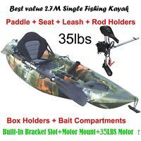 2.7M Fishing Kayak 5 Rod Holders Seat Paddle 35lbs Motor Bracket Jungle Green