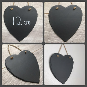 Handmade slate hanging heart chalkboard blackboard shabby chic weddings 12cm