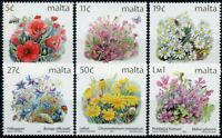 Malta Flowers Stamps 2001 MNH Definitives Part III Poppies Nature Flora 6v Set
