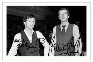 ALEX HIGGINS & STEVE DAVIS Signed PHOTO Fan Gift Signature Print SNOOKER