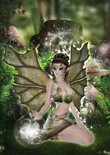 Green Fairy Birthday Card for women & girls enchanting green with toadstools