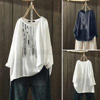 Womens Long Sleeve Cotton Embroidery Shirt Tee Casual Top Tunic Blouse Plus Size