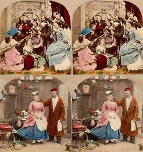 18 Stereoviews Genre ca 1860 hand tinted Lot 7