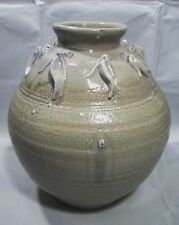 """12"""" 1960's  WILEY SIGNED ART POTTERY URN w/ RING OF FIGURAL FISH"""
