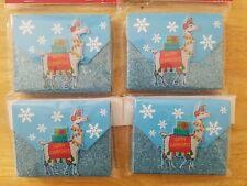 Nip Gift Card Holder Set of 4 Llama Holiday Christmas Boxes Sparkle Snowflakes